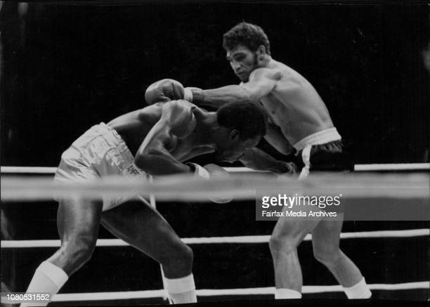 Champion Bunny Sterling ducks a left from Australian Tony Mundine in their Commonwealth middleweight title fight at White City last night The bout...