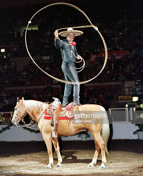Champion charro Gerardo Jerry Diaz showing his equine skills at the 115th National Horse SHow held at Madison Square Garden November 58 1998 Diaz ia...