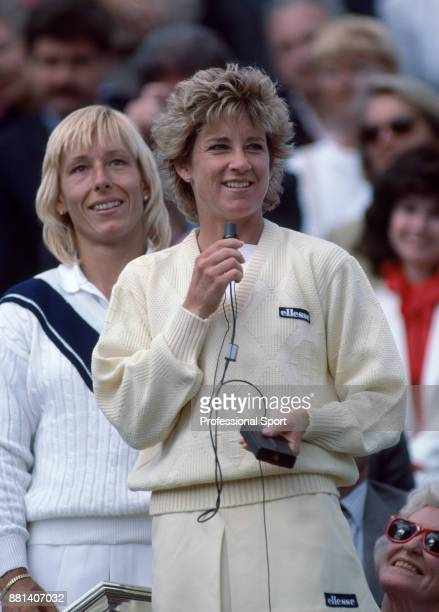 Champion Chris EvertLloyd of the USA speaks to the crowd after the Women's Singles Final of the French Open Tennis Championships at the Stade Roland...