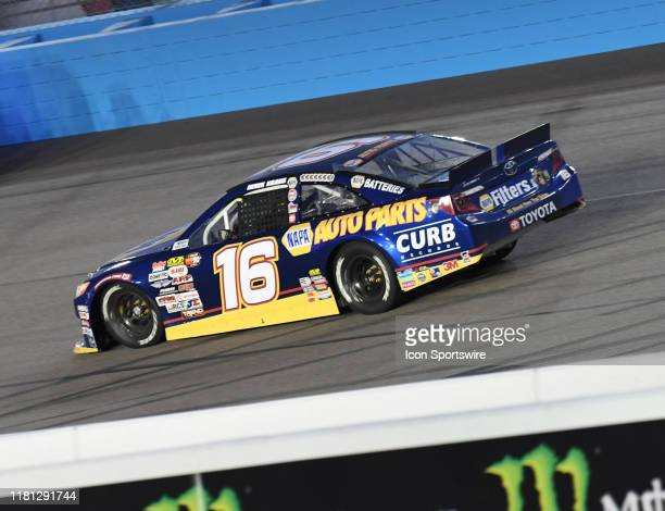 Champion Derek Kraus NAPA/Curb Records Toyota Camry takes a victory lap at the NASCAR K&N Pro Series West Championship on November 09, 2019 at the...