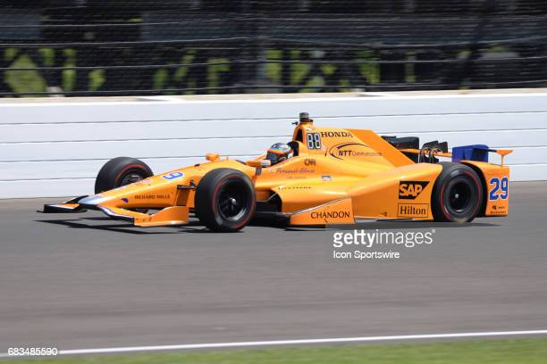 Champion Fernando Alonso driving his McLaren Honda on opening day of practice for the 101st Indianapolis on May 15 at the Indianapolis Motor Speedway...