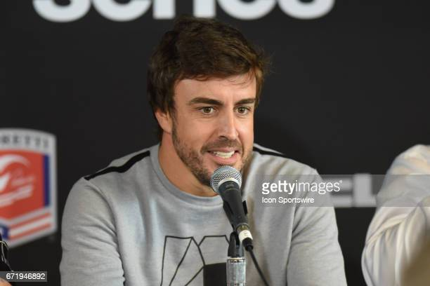 Champion Fernando Alonso speaking to the media about his Indianapolis 500 entry for the Honda Grand Prix of Alabama IndyCar race on April 23 at...