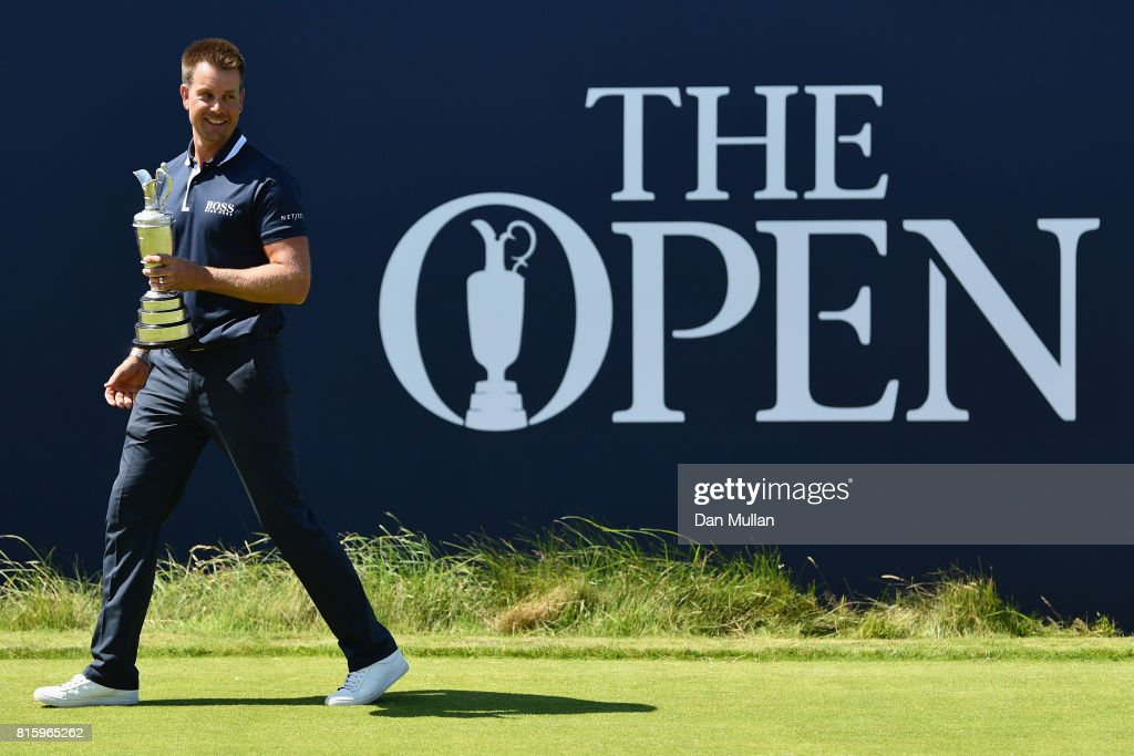 Champion Golfer of 2016 Henrik Stenson of Sweden returns the Claret Jug during a practice round prior to the 146th Open Championship at Royal Birkdale on July 17, 2017 in Southport, England.