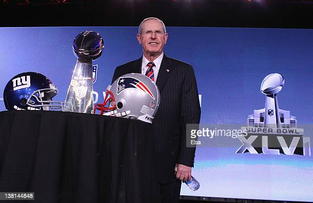 Champion Head Coach Tom Coughlin poses after a press conference during Super Bowl XLVI week at the JW Marriott in Indianapolis Indiana