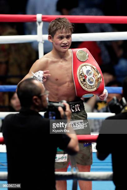 Champion Hiroto Kyoguchi of Japan celebrates his decision victory over challenger Vince Paras of the Philippines to win the IBF Minimumweight Title...