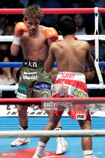 Champion Hiroto Kyoguchi of Japan in action during the IBF Minimumweight Title Bout against challenger Vince Paras of the Philippines at Ota City...