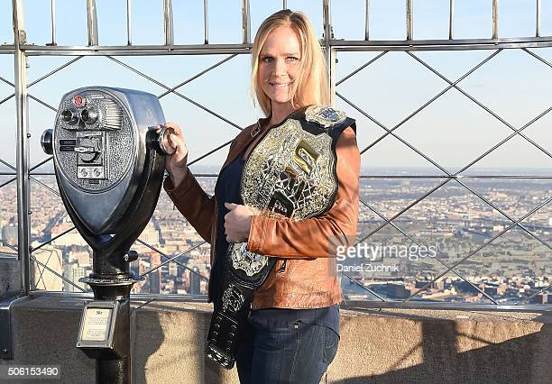 Champion Holly Holm visits the Empire State Building at The Empire State Building on January 21 2016 in New York City