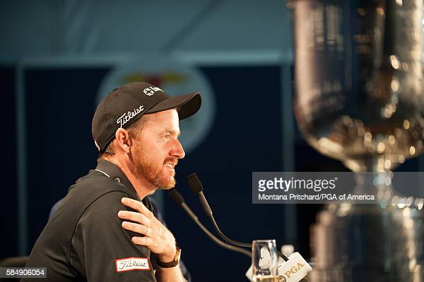 Champion, Jimmy Walker during a press conference for 98th PGA Championship held at the Baltusrol Golf Club on July 31, 2016 in Springfield, New...