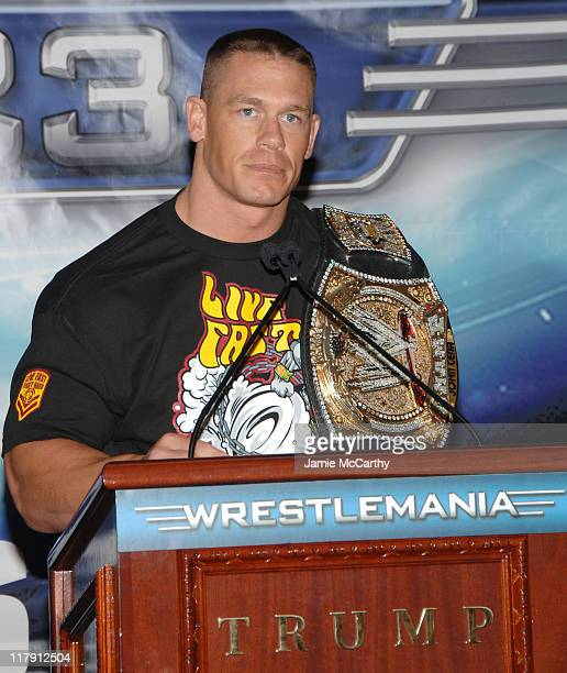 WWE Champion John Cena during Donald Trump and WWE News Conference for WrestleMania 23 March 28 2007 at Trump Tower in New York City New York United...