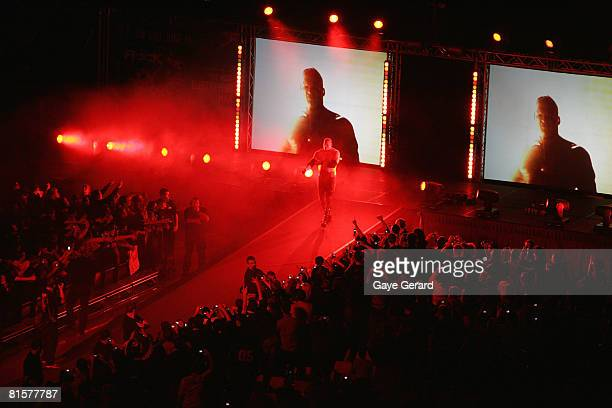 Champion Kane walks to the ring during WWE Smackdown at Acer Arena on June 15 2008 in Sydney Australia