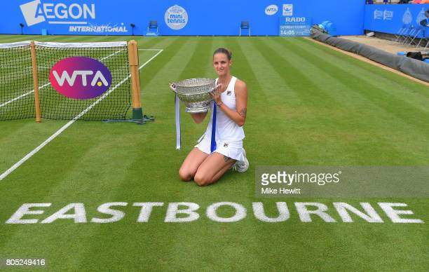 Champion Karolina Pliskova of the Czech Republic poses with the trophy following victory during the ladies singles final against Caroline Wozniacki...