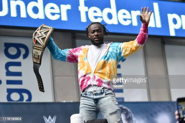 Champion Kofi Kingston is seen on the set of FOX and Friends on September 30 2019 in New York City