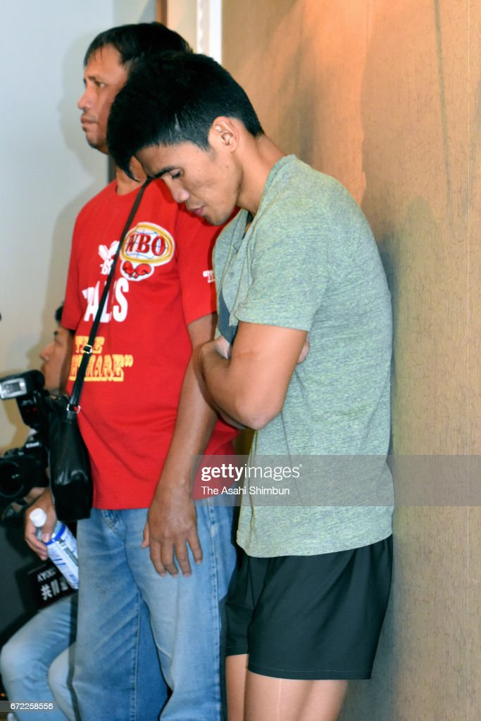 Champion Marlon Tapales of the Philippines shows dejection after he loses his title for failing to make weight limit prior to the WBO Bantamweight Title Bout on April 22, 2017 in Osaka, Japan.