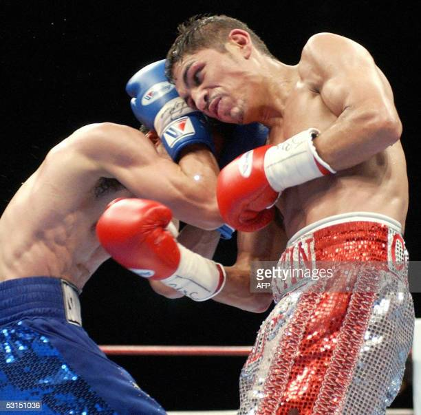 Champion Martin Castillo of Mexico and challenger Hideyasu Ishihara of Japan fight in the World Boxing Association Super Flyweight title match at the...