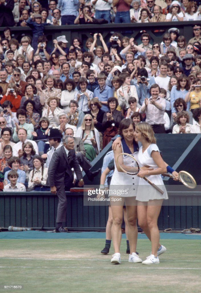 Champion Martina Navratilova (left) and runner-up Chris Evert of the USA hugging at the end of their match on Centre Court after the Women's Singles Final of the Wimbledon Lawn Tennis Championships at the All England Lawn Tennis and Croquet Club circa July 7, 1978 in London, England.
