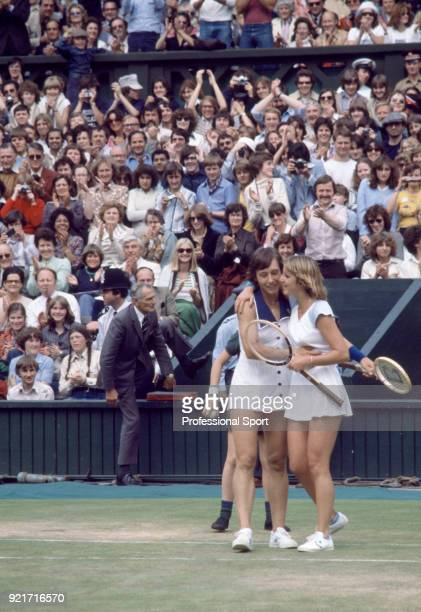 Champion Martina Navratilova and runner-up Chris Evert of the USA hugging at the end of their match on Centre Court after the Women's Singles Final...