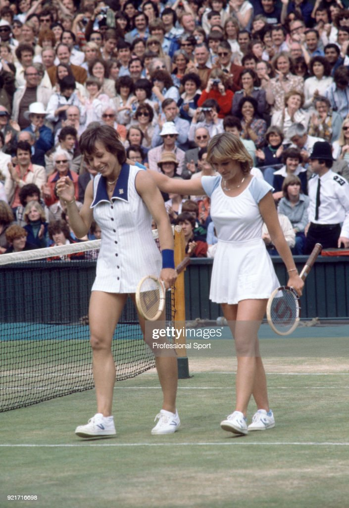 Champion Martina Navratilova (left) and runner-up Chris Evert of the USA at the end of their match on Centre Court after the Women's Singles Final of the Wimbledon Lawn Tennis Championships at the All England Lawn Tennis and Croquet Club circa July 7, 1978 in London, England.