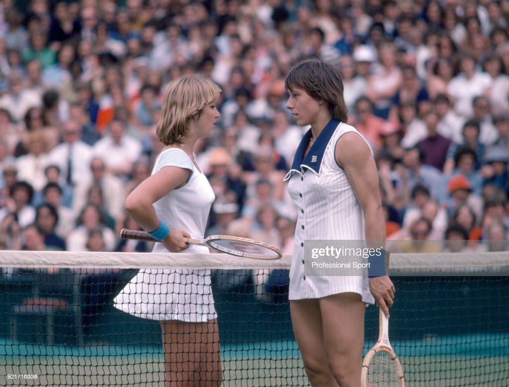 Champion Martina Navratilova (right) and runner-up Chris Evert of the USA speaking on Centre Court after the Women's Singles Final of the Wimbledon Lawn Tennis Championships at the All England Lawn Tennis and Croquet Club circa July 7, 1978 in London, England.