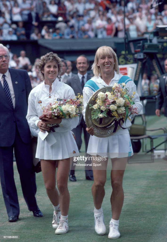Champion Martina Navratilova of the USA (right) and runner-up Chris Evert-Lloyd also of the USA on Centre Court after the Women's Singles Final of the Wimbledon Lawn Tennis Championships at the All England Lawn Tennis and Croquet Club on July 6, 1985 in London, England.