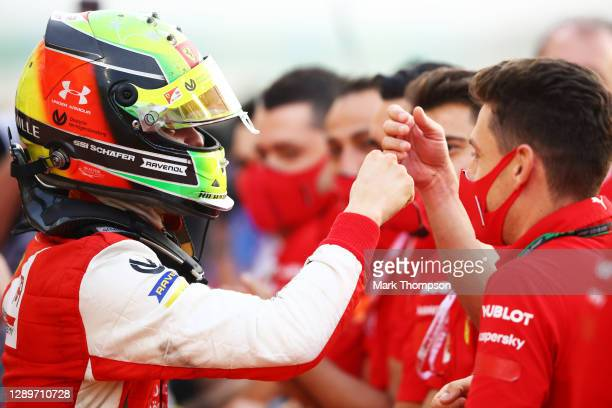 Champion Mick Schumacher of Germany and Prema Racing celebrates in parc ferme during the Round 12:Sakhir Sprint Race of the Formula 2 Championship at...