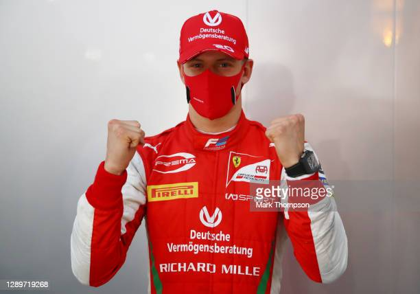 Champion Mick Schumacher of Germany and Prema Racing celebrates in the Paddock after the Round 12:Sakhir Sprint Race of the Formula 2 Championship at...