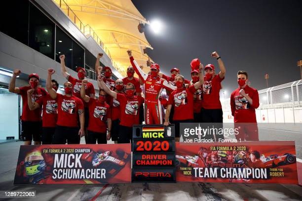 Champion Mick Schumacher of Germany and Prema Racing celebrates with his team in the Pitlane after the Round 12:Sakhir Sprint Race of the Formula 2...