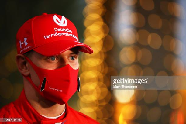 Champion Mick Schumacher of Germany and Prema Racing talks to the media in the Paddock after the Round 12:Sakhir Sprint Race of the Formula 2...