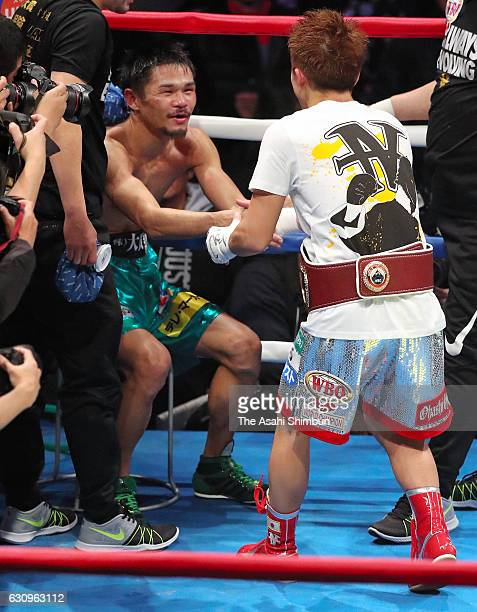 Champion Naoya Inoue of Japan and challenger Kohei Kono of Japan shake hand after the WBO Super Flyweight title bout at Ariake Coliseum on December...
