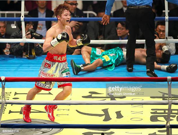 Champion Naoya Inoue of Japan celebrates after knocking out challenger Kohei Kono of Japan in the 6th round during the WBO Super Flyweight title bout...