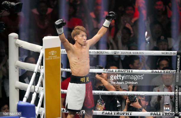 Champion Naoya Inoue of Japan celebrates after winning against Challenger Juan Carlos Payano of the Dominican Republic during the WBA bantamweight...