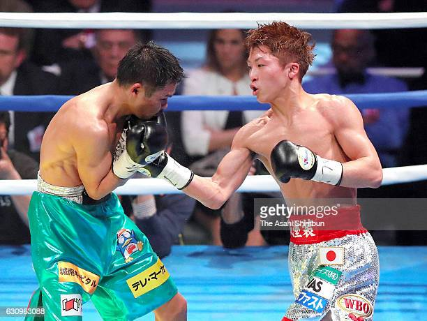 Champion Naoya Inoue of Japan connects his right on challenger Kohei Kono of Japan during the WBO Super Flyweight title bout at Ariake Coliseum on...