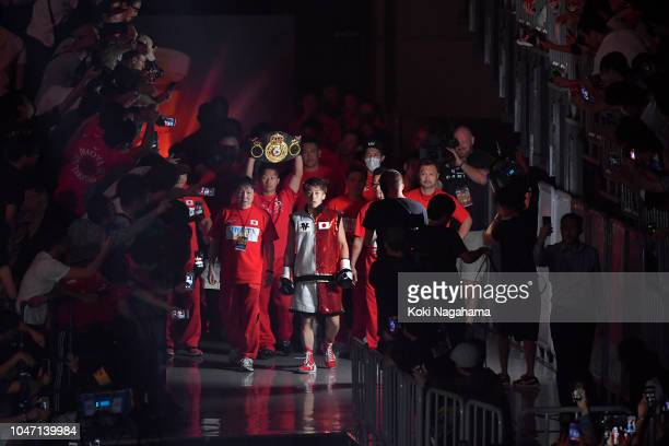 Champion Naoya Inoue of Japan enters the ring against challenger Juan Carlos Payano of the Dominican Republic during the WBA bantamweight title bout...