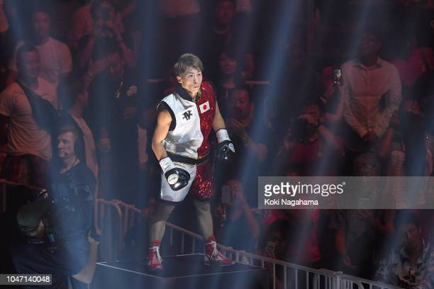 Champion Naoya Inoue of Japan enters the ring against challenger Juan Carlos Payano of the Dominican Republic prior to the WBA bantamweight title...