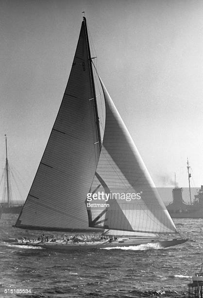 Champion of the 'Old Mug' Newport RI Successfully defending the America's Cup symbolic of yachting supremacy skipper Harold Vanderbilt's Ranger...