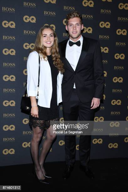 Champion of the year Kevin Mayer and Delphine Jariel attend GQ Men Of The Year Awards 2017 at Le Trianon on November 15 2017 in Paris France