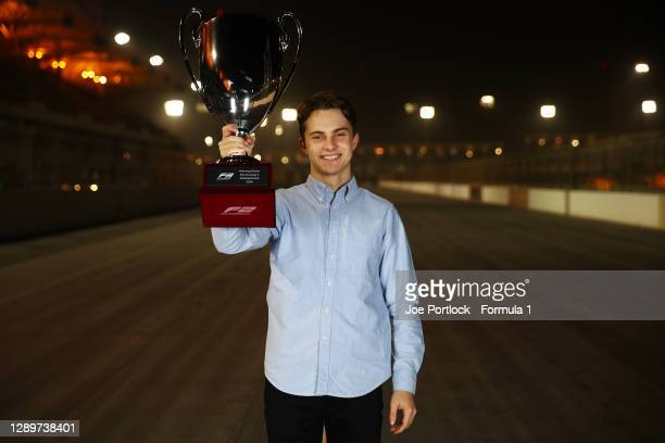 Champion Oscar Piastri of Australia and Prema Racing poses for a photo during the Formula 3 Championship Prize Giving Ceremony at Bahrain...
