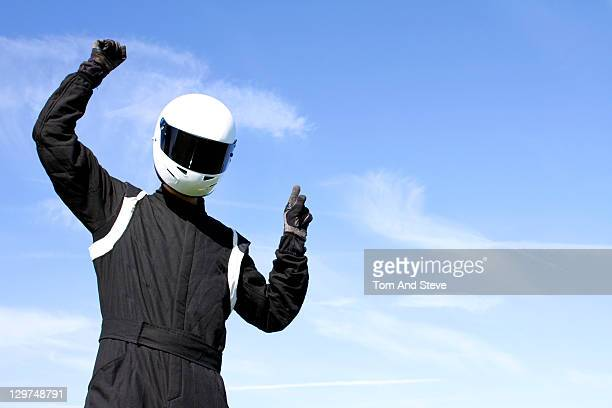 Champion Racing Driver celebrates winning
