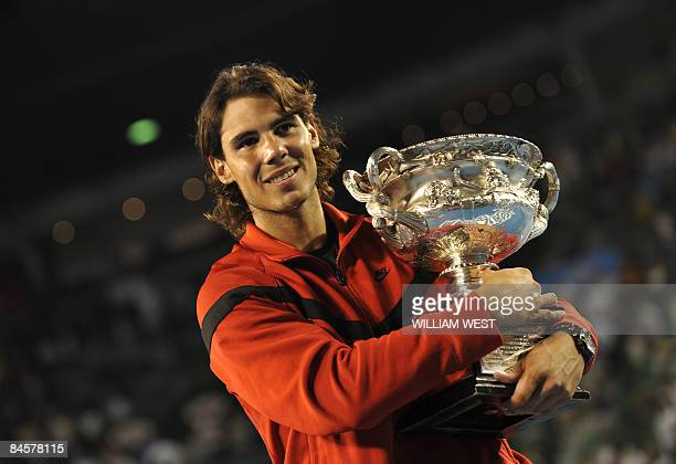 Champion Rafael Nadal of Spain holds his trophy after the men's tennis final on day 14 of the Australian Open in Melbourne on early February 2 2009...