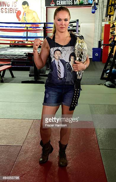 Champion Ronda Rousey Hosts Media Day Ahead of The Rousey Vs Holm Fight at the Glendale Fighting Club on October 27 2015 in Glendale California