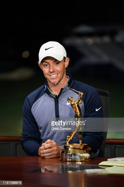 Champion Rory McIlroy of Northern Ireland talks with the Golf channel after winning THE PLAYERS Championship on THE PLAYERS Stadium Course at TPC...