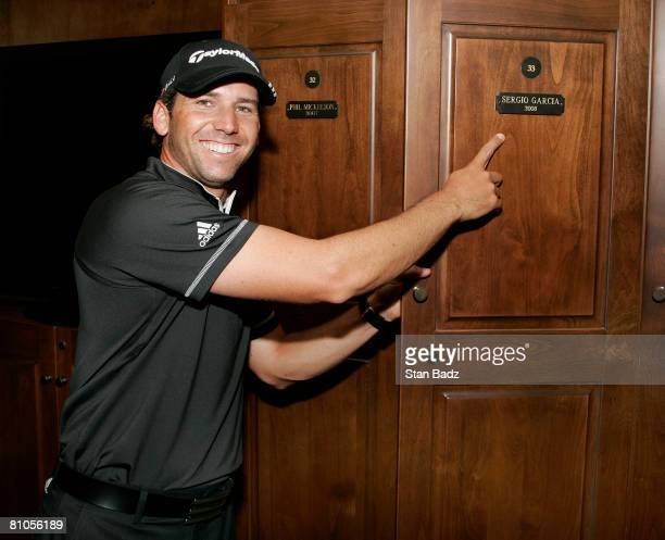 Champion Segio Garcia points to his new locker in the PLAYERS CHAMPIONS Locker room after the final round of THE PLAYERS Championship on THE PLAYERS...