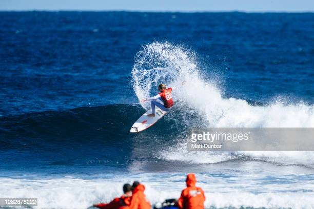 Champion Stephanie Gilmore of Australia surfing in Heat 7 of Round 3 of the Boost Mobile Margaret River Pro presented by Corona on May 4, 2021 in...