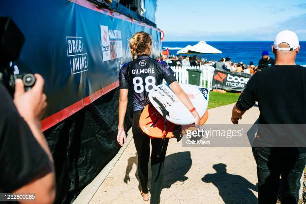 Champion Stephanie Gilmore of Australia surfing in Semifinal 2 of the Boost Mobile Margaret River Pro presented by Corona on May 10, 2021 in Margaret...