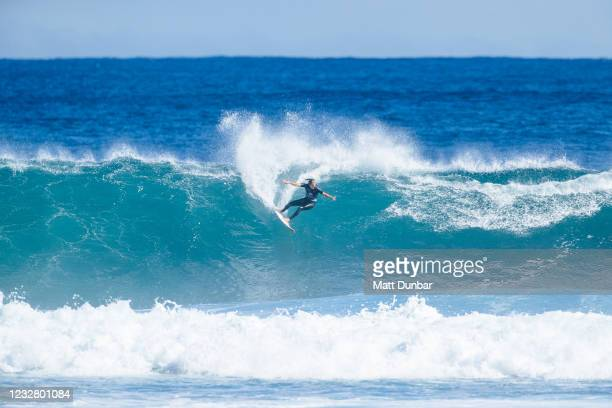 Champion Stephanie Gilmore of Australia surfing in the final of the Boost Mobile Margaret River Pro presented by Corona on May 10, 2021 in Margaret...