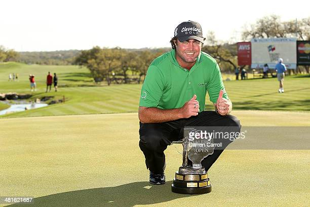 Champion Steven Bowditch with the trophy during the Final Round of the Valero Texas Open at TPC San Antonio ATT Oaks Course on March 30 2014 in San...