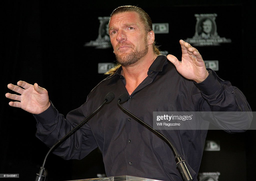 Champion Triple H attends the announcement of the First McMahon Million Dollar Mania Winners at the Hard Rock Cafe June 12, 2008 in New York City.