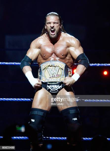 Champion Triple H makes his way to the ring for his match against Randy Orton at 'WrestleMania 25' at the Reliant Stadium on April 5 2009 in Houston...