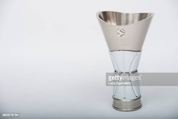 Champion Trophy at 2017 Turkish Airlines EuroLeague Final Four Season Awards Photo Session at Sinan Erdem Dome on May 16 2017 in Istanbul Turkey