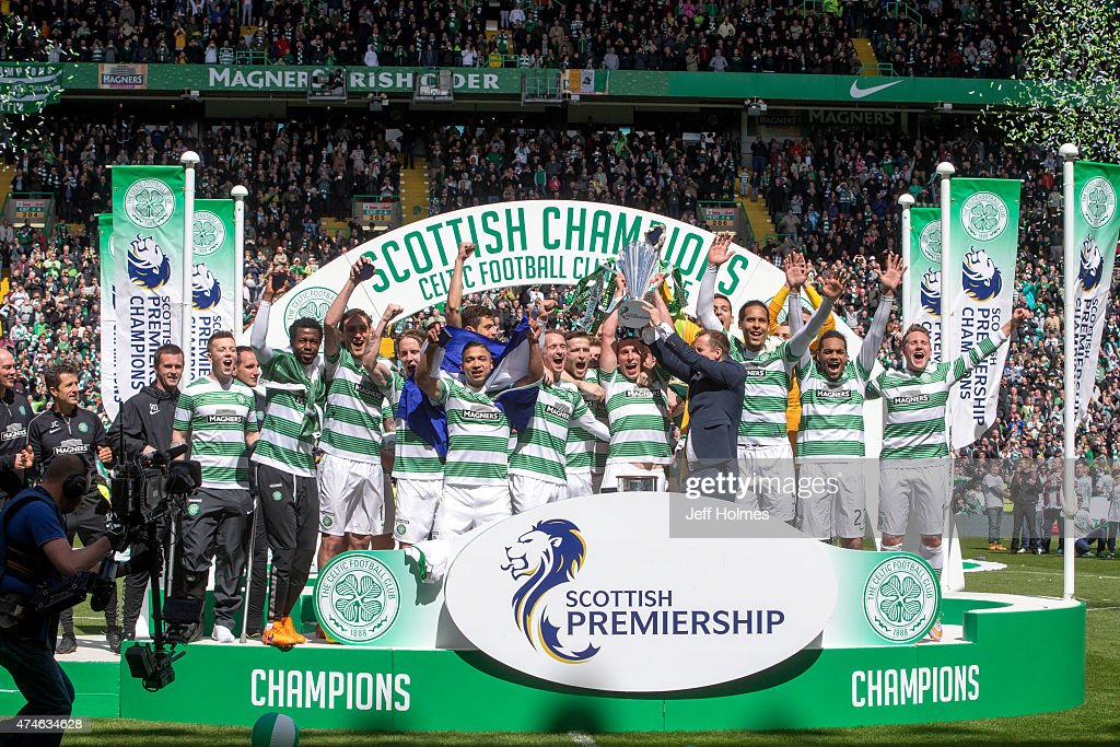 Champions Celtic lift the League Trophy at the Scottish Premiership Match between Celtic and Inverness Caley Thistle at Celtic Park on May 24, 2015 in Glasgow, Scotland.