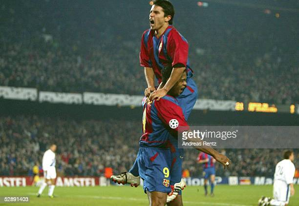 Champions League 02/03 Barcelona FC Barcelona Inter Mailand 30 Torjubel Javier SAVIOLA Patrick KLUIVERT/Barcelona